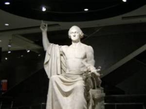Statue of Washington same pose as Baphomet